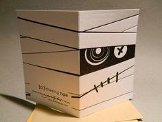 Letterpress Zombie Mummy Halloween Card by ChasingType on Etsy