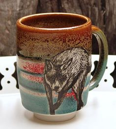 Colored slips + sgrafitto + glaze? Porcelain Fox Mug by Megan Daloz Ceramics on Scoutmob Shoppe
