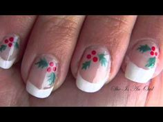 Holly Nails french (unghia agrifoglio) - Christmas Nail Art Tutorial