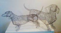 dachshund dog wire sculpture by wire sculptor Elizabeth Berrien
