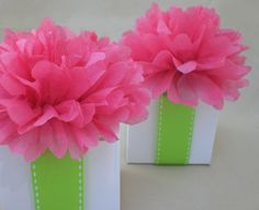 Pink Flower Centerpieces for Baby Shower | Baby Shower Decoration....50 Favor Box Toppers .. Hot Pink Tissue ...