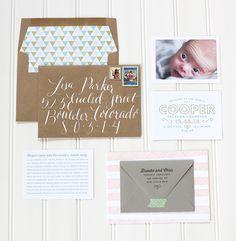 Caligrafía Rotulación de sobres Oh So Beautiful Paper: Cooper's Whimsical + Modern Birth Announcements