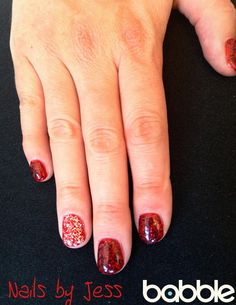 Permanent Gel Polish: Red with Sparkles and accent nail!  http://babblebeautybar.ca/