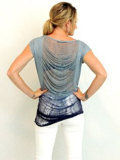 Frayed back blue ombre tshirt top-