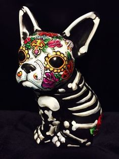 Le jour des morts painted Sugar Skull French Bull dog statue figurine pet urne in Collectibles, Cultures & Ethnicities, Latin American, Mexico, Day of the Dead Ghost Costumes, Zombie Costumes, Family Costumes, Halloween Costumes, Teacher Costumes, Costumes Kids, Halloween Makeup, Halloween Crafts, Halloween Foods