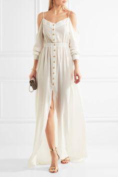 Balmain | Cutout cotton-crepon maxi dress | $604 | White cotton-crepon Slips on