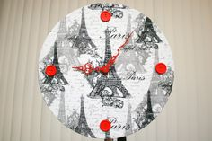Black and White Paris Themed Wall Clock with Red Hands and Button Graduations by OhFerCuteCrafts on Etsy