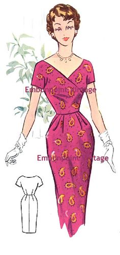 Plus Size (or any size) Vintage 1950s Dress Pattern - PDF - Pattern No 62 Wanda. $10.20, via Etsy.