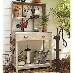 Having a potting bench makes working in the garden so much easier and more organized. Here's a great collection of DIY potting bench ideas. Potting Tables, Outdoor Living, Outdoor Decor, Outdoor Buffet, Outdoor Rooms, Outdoor Ideas, Potting Sheds, Garden Spaces, Outdoor Gardens