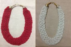 Christmas & New Year Sale 2 Pcs Beaded Bib Necklace Combo Set /Hot Red and Pearl White Statement Necklaces /Indian Handmade Braided Necklace