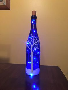 A personal favorite from my Etsy shop https://www.etsy.com/listing/572816381/handpainted-lighted-blue-wine-bottle