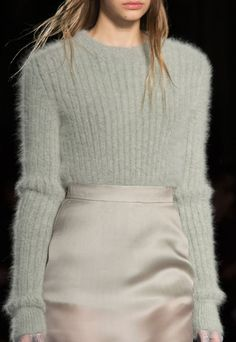 Material contrast with a fluffy mohair sweater in a warm grey colour over a pale nude coloured silk pencil skirt. Detail at Francesco Scognamiglio Fall Milan Fashion Week. Street Fashion, Runway Fashion, High Fashion, Winter Fashion, Fashion Show, Fashion Looks, Fashion Outfits, Womens Fashion, Fashion Tips