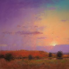 "Small Ranch at Sunset, pastel, 20"" x 20, artist, Tom Perkinson."