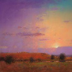"Small Ranch at Sunset, pastel, 20"" x 20, artist, Tom Perkinson."