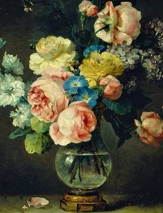 Beautiful rococo flower paintings by Anne Vallayer-Coster A Vase of Flowers, detail 1775