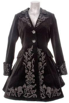 Black Velvet Victorian Frock Coat by Spin Doctor