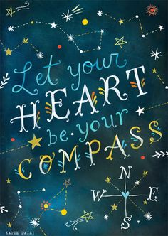 "Enhance your walls with some charm and style with this GreenBox Art Murals That Stick ""Let Your Heart be Your Compass"" Wall Art. The ""Let Your Heart be Your Compass"" quote by Victor Hugo is written amidst an array of constellations for inspiration. The Words, Compass Art, Compass Rose, Affirmations, Daisy Art, Art Français, Acrylic Artwork, My Sun And Stars, Inspirational Wall Art"