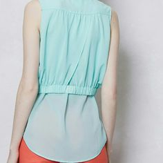 NWOT Faded Cyan Layered Button Down Sleeveless Top Cute and versatile, Maeve's sleeveless top boasts a flowy silhouette that's double-layered and perfect for tying at the waist for days you desire a retro look or leave open over a tank. Get it now...sold out in stores! Anthropologie Tops Blouses