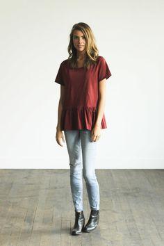 Maroon Peplum | CLAD & CLOTH