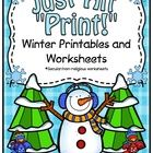 Winter theme printables and worksheets. This is a non-religious/secular printable pack.  In this pack you will find over 85 worksheets that will fi... $8.00