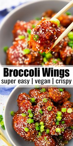 These broccoli wings are out of this world! They're easy to make, super crispy, and spicy. They're great with a bowl of brown rice or on their own as an appetizer. Find more easy vegan recipes at vega Rice Recipes For Dinner, Vegan Lunch Recipes, Delicious Vegan Recipes, Vegan Dinners, Clean Eating Recipes, Clean Eating Snacks, Cooking Recipes, Healthy Recipes, Vegan Brown Rice Recipes
