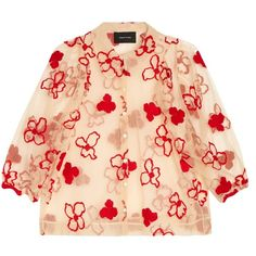 Simone Rocha Spooky flower-embroidered blouse (68.960 RUB) ❤ liked on Polyvore featuring tops, blouses, red polka dot top, polka dot blouse, see through blouse, dot blouse and polka dot top