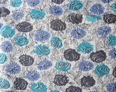 Vintage 1930's Feedsack Cotton Feedsack Fabric, Aqua, Gray and Periwinkle Flowers on White