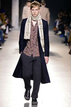 """Love this lavishly beaded """"girlfriend"""" scarf tossed over a topcoat, wool socks and sandals and """"where is my mind?"""" bed-head hair--part of Dries Van Noten's """"Morning After"""" theme for Fall 2013 Mens RTW."""