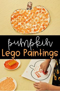 Fall artistic activity: pumpkins painted with Lego. My presc / Fall art activity: Lego-painted pumpkins. My preschool students loved this Hallo… Fall artistic activity: pumpkins painted with Lego. My preschoolers … Fall Preschool Activities, Preschool Art Projects, Daycare Crafts, Kids Crafts, Thanksgiving Preschool Crafts, Fall Toddler Crafts, November Preschool Themes, Pumpkin Crafts Kids, Fall Art Projects