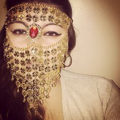 Beautiful Custom handmade gold tone coin face chain headpiece with ruby center gem. Draping face veil/mask elegantly falls to cover lower face. Orders custom made to fit and adjustable.