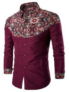 Ethnic Style Pattern Spliced Turn-Down Collar Long Sleeve Shirt | NastyDress.com