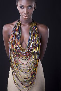 Christie Brown - Ghana - necklace created using local fabrics.