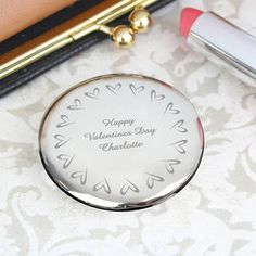 Personalised Small Hearts Round Compact Mirror.  £17.99 inc Free P&P.  Add any message. (scheduled via http://www.tailwindapp.com?utm_source=pinterest&utm_medium=twpin&utm_content=post25447036&utm_campaign=scheduler_attribution)
