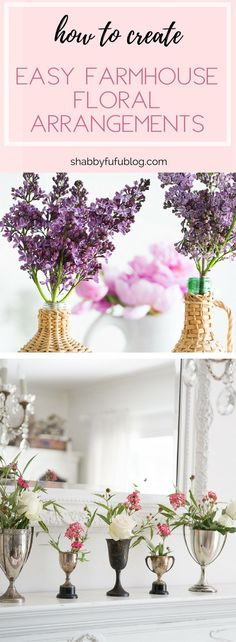 How To Create Easy Farmhouse Floral Arrangements Beautiful Flower Arrangements, Floral Arrangements, Country Decor, Farmhouse Decor, Farmhouse Style, American Farmhouse, French Farmhouse, French Country, Rustic Decor