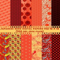 "12 Japanese Patterns paper pack.""scrapbooking paper, wedding digital paper, Japanese Patterns and Kimono Fabric Designs for every creative project imaginable. These papers will come in handy in any creative project like scrapbooking, scapbook supplies, wedding invites, birthday parties, tea parti..."