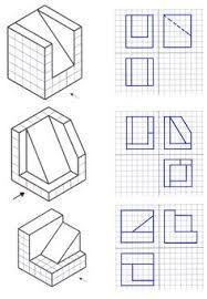 Resultado de imagem para ejercicios de perspectiva a partir de trama isometrica
