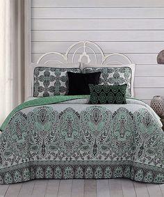 Loving this Mint Imogen Five-Piece Reversible Quilt Set on #zulily! #zulilyfinds