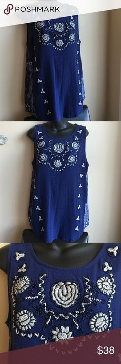 Lucky brand bliouse Brand new blouse with pretty embroidery and beads . Back is printed. and has embroidery om the top.❗️price firm ❗️ Lucky Brand Tops Blouses