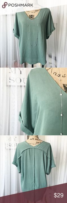 Sea foam green blouse Flowy green top, looks great with leggings and boots! One of my favorite fall colors. Francesca's Collections Tops Blouses