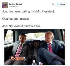 Joe Biden is running for 2020 presidency as an Obama-Biden Democrat and he has been the most favorite memeable politician of our time. We bring you 33 hilarious Obama Biden Memes below. Joe And Obama, Obama And Biden, Joe Biden, Divorce, Political Memes, Funny Posts, I Laughed, Laughter, Funny Quotes