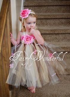 Flower girl dress - crochet top with flowers and tied on strips of tulle for the skirt.
