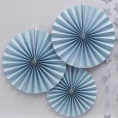 Blue Pastel Perfection Fan Party Decorations