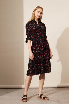 8b7a3f4c4fa7b Black Cherry Silk Pleated Shirt Dress