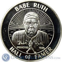 Babe Ruth Hall Of Faner 1 oz Silver Art Round .999 Pure http://www.gainesvillecoins.com/