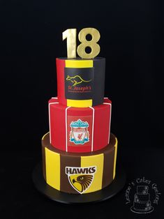 Three favourite footy teams make up this awesome 18th cake. www.facebook.com/cakesbyleannerhodes