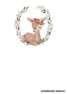 Free Printable Birthday Invitations, Baby Shower Invitation Templates, Baby Boy Cards, Baby Icon, Karten Diy, Baby Clip Art, Baby Deer, Woodland Animals, Nursery Art