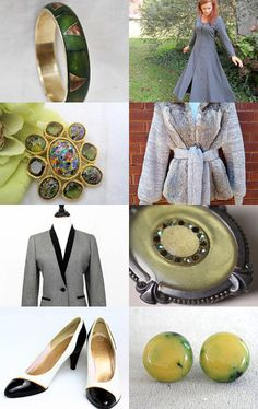 September Color Forecast in vintage clothing & jewelry styles.