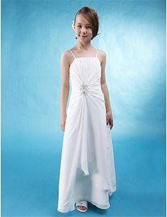 Pretty A line Spaghetti Strap Long White Chiffon Junior Bridesmaid Dress f5759660cfa1