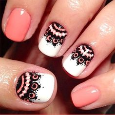 Uñas cortas acrilicas geniales diseños - Short nails with beautiful designs