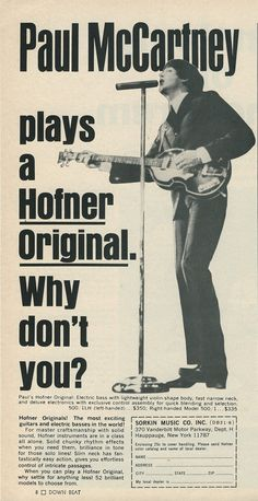 Hofner original advertisement - old magazine ad for guitar with Paul McCartney playing it and singing at a microphone. http://www.pinterest.com/claxtonw/4-5-6-strings/ - Photo pin via Nuno Santos